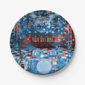 ROCK STAR Birthday Musical Dance Party 7 Inch Paper Plate