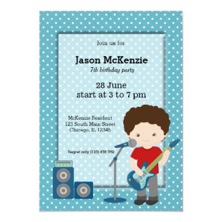 Rock Star birthday party Card