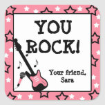 Rock Star Birthday Party Favour Stickers Pink Girl