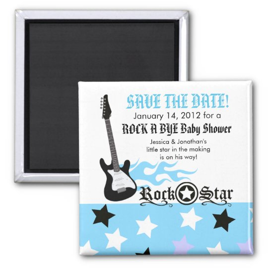 ROCK STAR Blue Baby Shower Favour Magnet