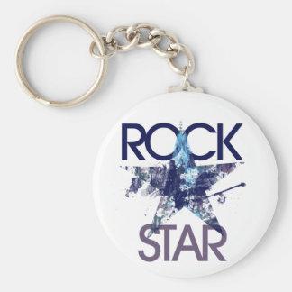 Rock Star Blue Rocker Basic Round Button Key Ring