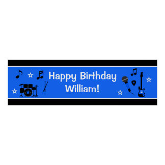 Rock Star Boy Birthday Banner 40x12 Poster