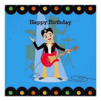 Rock Star Boy birthday party Poster