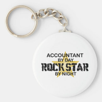 Rock Star by Night - Accountant Basic Round Button Key Ring