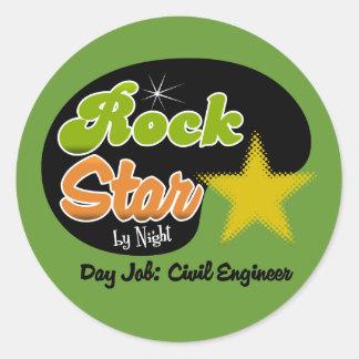 Rock Star By Night - Day Job Civil Engineer Classic Round Sticker