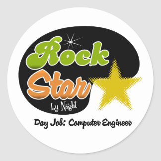 Rock Star By Night - Day Job Computer Engineer Sticker