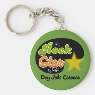 Rock Star By Night - Day Job Coroner Basic Round Button Key Ring
