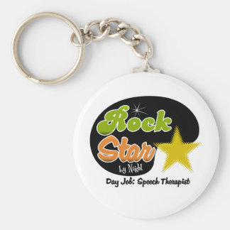 Rock Star By Night - Day Job Speech Therapist Basic Round Button Key Ring
