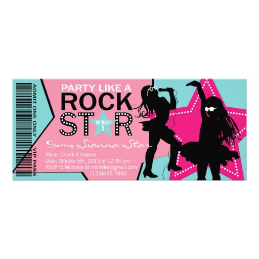 Rock Star Girl Band Birthday Aqua Pink Personalized Invite