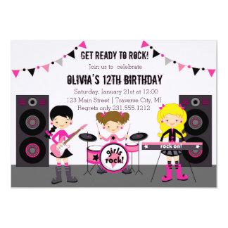 Rock Star Girl Band Birthday Party 13 Cm X 18 Cm Invitation Card