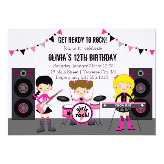 Rock Star Girl Band Birthday Party Card