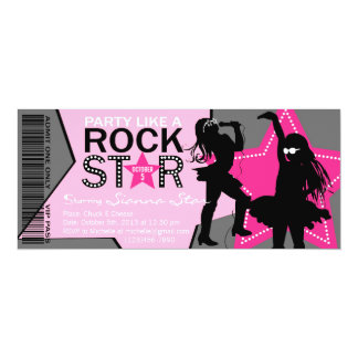 Rock Star Girl Band Birthday Pink Gray 10 Cm X 24 Cm Invitation Card