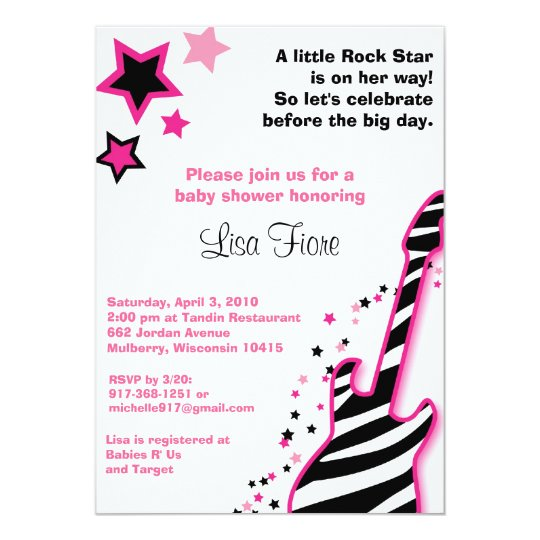 Rock Star Girl Guitar Baby Shower Invitations