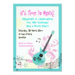 Rock star girly electric guitar birthday invites