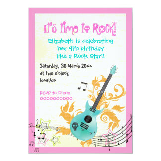 Rock star girly electric guitar girls birthday custom invitation