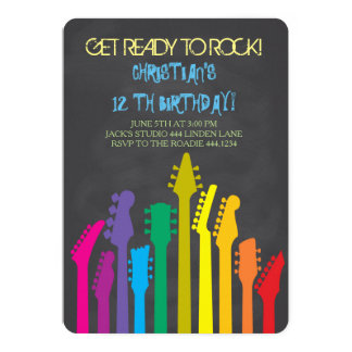 Rock Star Guitar Birthday Party Invitations