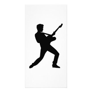 Rock star guitar personalized photo card