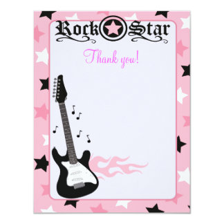 Rock Star Guitar Pink 4x5 Flat Thank you note Card