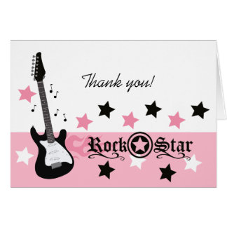 Rock Star Guitar *Pink* Thank you Note Card size