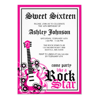 Rock Star Guitar Sweet 16 Birthday Party Pink Card