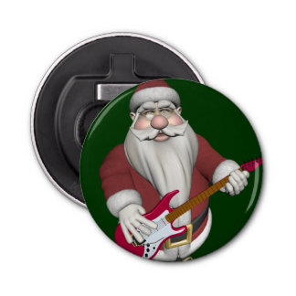 Rock Star Santa With Red Electric Guitar Bottle Opener