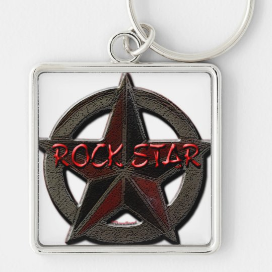 Rock Star Silver-Colored Square Key Ring