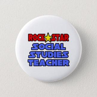 Rock Star Social Studies Teacher 6 Cm Round Badge