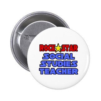Rock Star Social Studies Teacher 6 Cm Round Badge