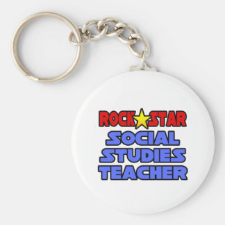 Rock Star Social Studies Teacher Basic Round Button Key Ring
