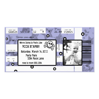 Rock Star Ticket Invitation or Thank You Card Customized Photo Card