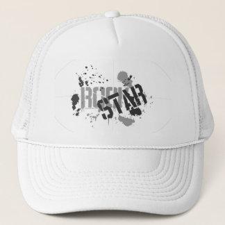 Rock Star White Mesh Truckers Cap Paint Splatter