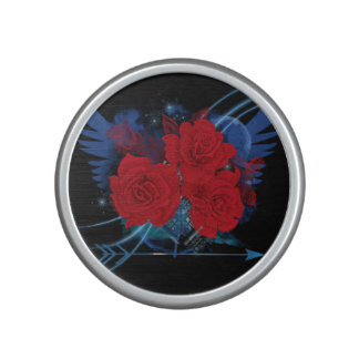 Rock style roses and wings bluetooth speaker