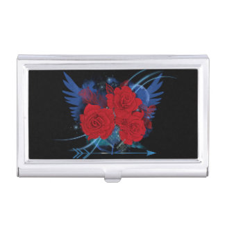 Rock style roses and wings business card cases