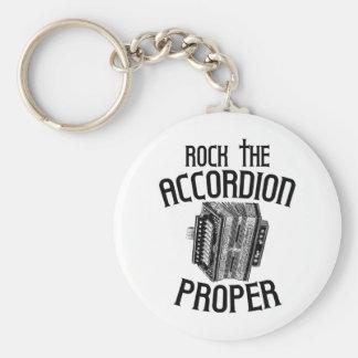 Rock the Accordion Proper Basic Round Button Key Ring