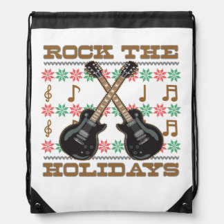 Rock The Holidays Guitar Ugly Christmas Sweater Backpack