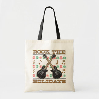 Rock The Holidays Guitar Ugly Christmas Sweater Budget Tote Bag