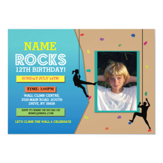 Rock Wall Climbing Birthday Party Photo Invite