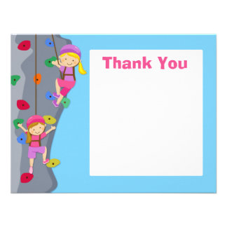 Rock Wall Climbing Party Thank You Card Personalised Invitations
