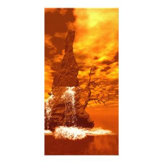 Rock with waterfall photo card