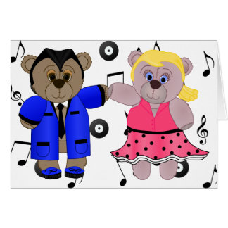 Rockabilly Boy and Girl Teddy Bear Couple Card