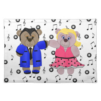 Rockabilly Boy and Girl Teddy Bear Couple Placemat