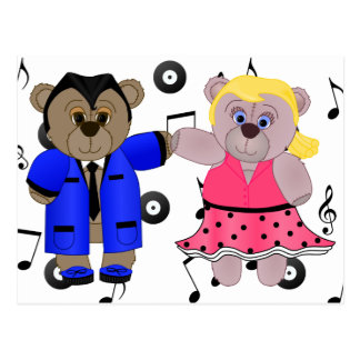 Rockabilly Boy and Girl Teddy Bear Couple Postcard