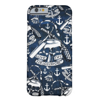 Rockabilly brass knuckles and anchors in navy barely there iPhone 6 case