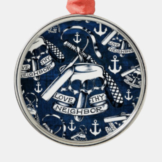 Rockabilly brass knuckles and anchors in navy ornaments
