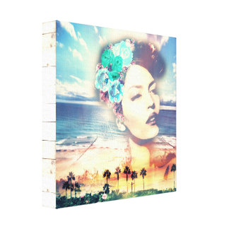 Rockabilly California Palms Coastal Summer Woman Canvas Print
