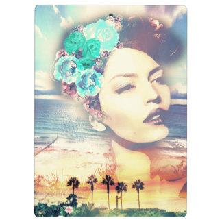Rockabilly California Palms Coastal Summer Woman Clipboard