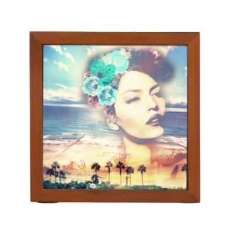 Rockabilly California Palms Coastal Summer Woman Desk Organiser