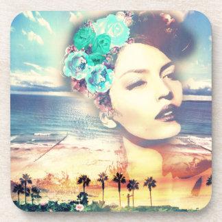 Rockabilly California Palms Coastal Summer Woman Drink Coaster