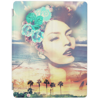 Rockabilly California Palms Coastal Summer Woman iPad Cover