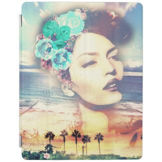 Rockabilly California Palms Coastal Summer Woman iPad Cover
